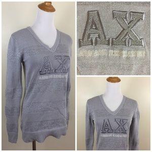 AX ARMANI EXCHANGE Silver Glitter Striped Sweater